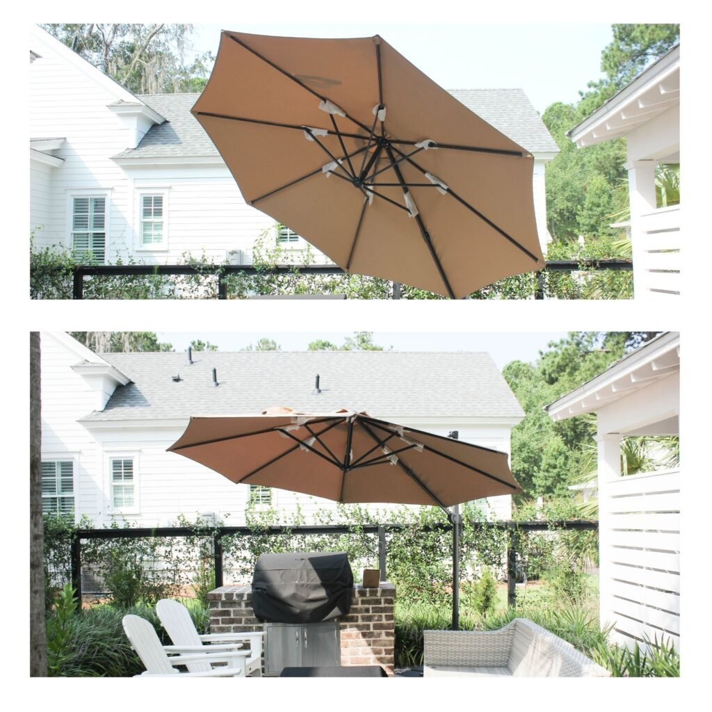 Different angles for cantilever umbrella HOW TO SET UP CANTILEVER OUTDOOR PATIO UMBRELLA
