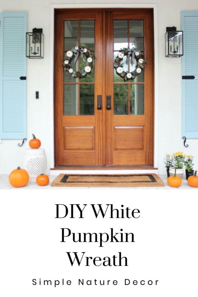 white pumpkin wreath: How to make a white pumpkin wreath